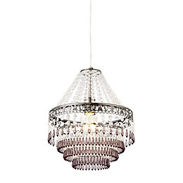 Corinna Crystal & Beaded Pewter Pendant Ceiling Light