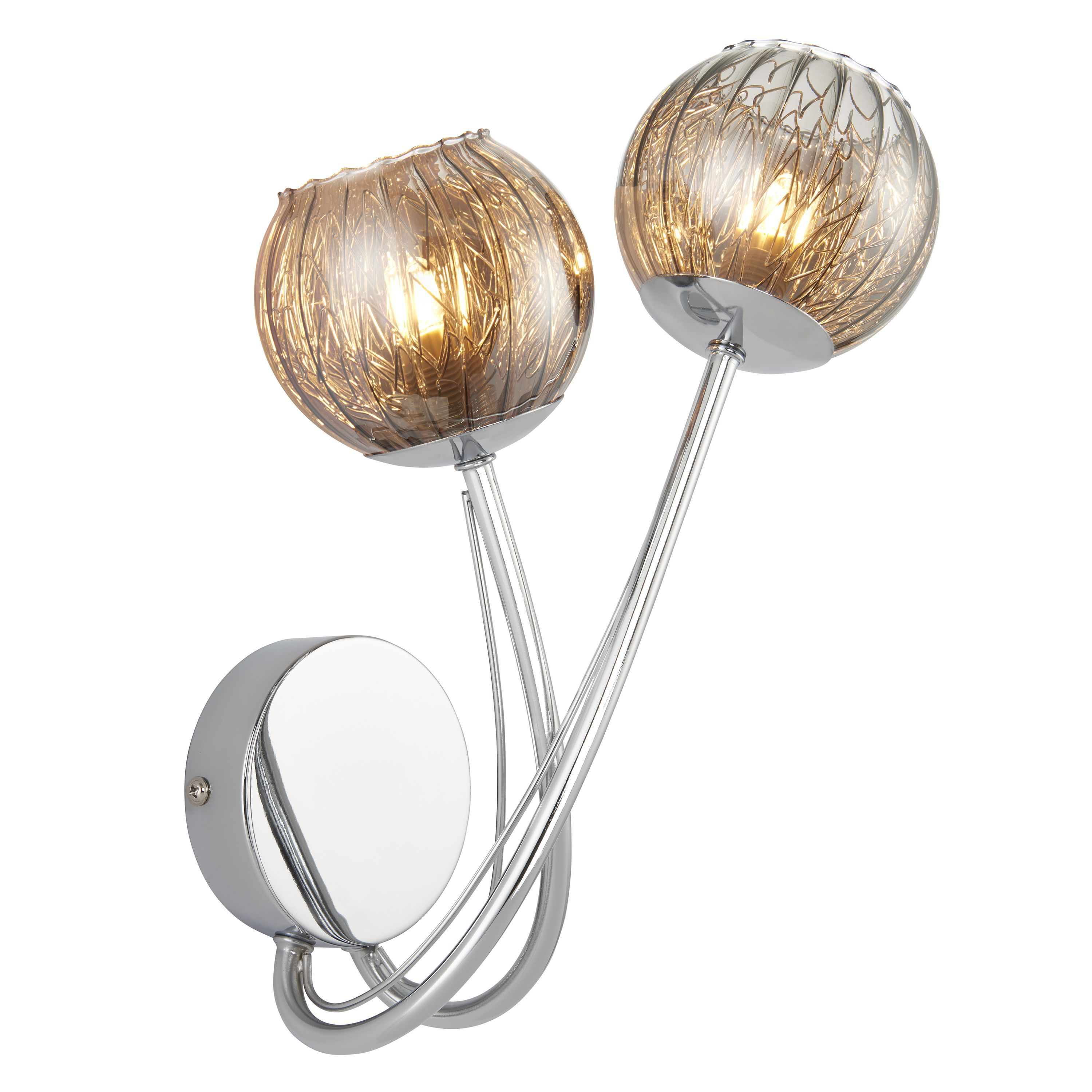 Roset Chrome Effect 2 Lamp Wall Light Departments DIY at B&Q