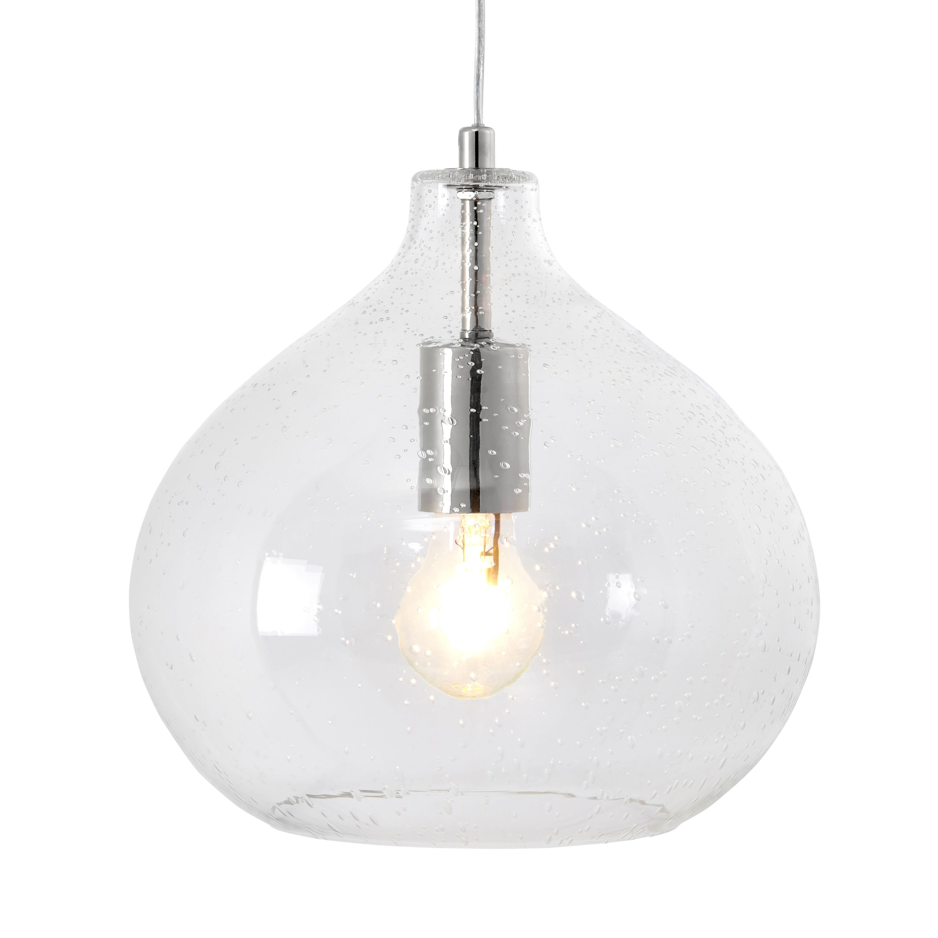 Hester bubble glass pendant ceiling light departments for B q bathroom lights