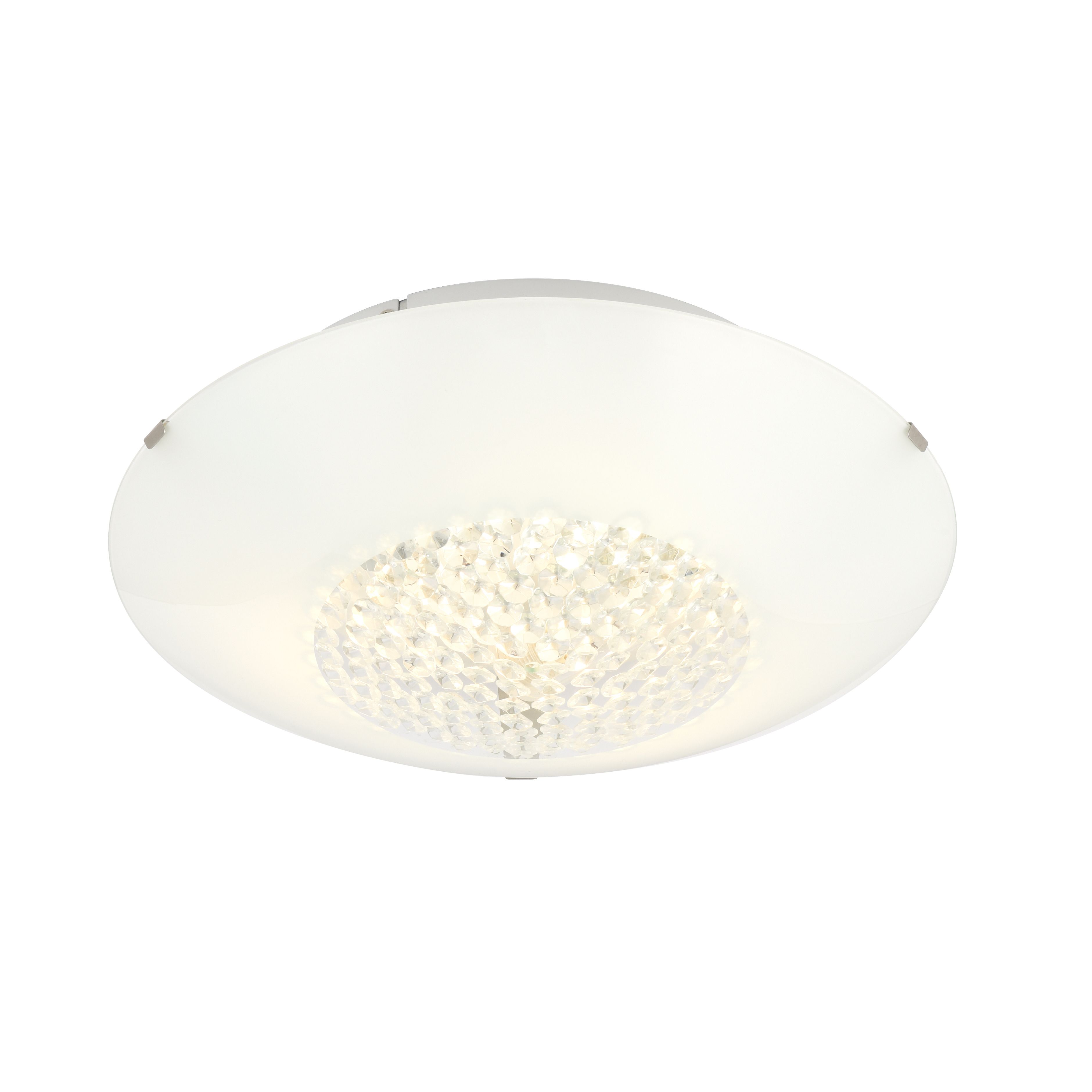 Drop ceiling lighting fixtures - Crystallinity Crystal White 3 Lamp Flush Bathroom Ceiling Light