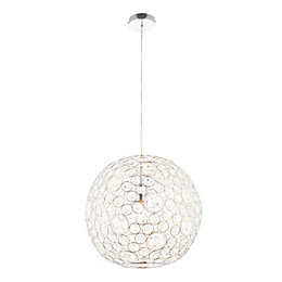 Lisel Acrylic Bead Detail Chrome Effect Pendant Ceiling