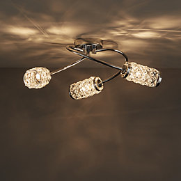 Adela Glass Beads Chrome Effect 3 Lamp Semi