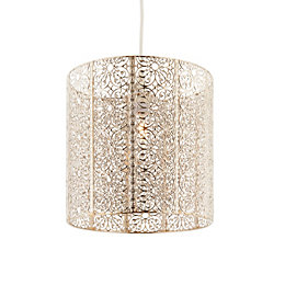Krishna Filigree Metalwork Bright Nickel Effect Lamp Shade