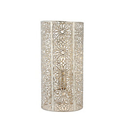 Krishna Filigree Metalwork Bright Nickel Plate Table Lamp