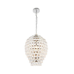 Allesandro Beaded Detail Chrome Effect Pendant Ceiling Light