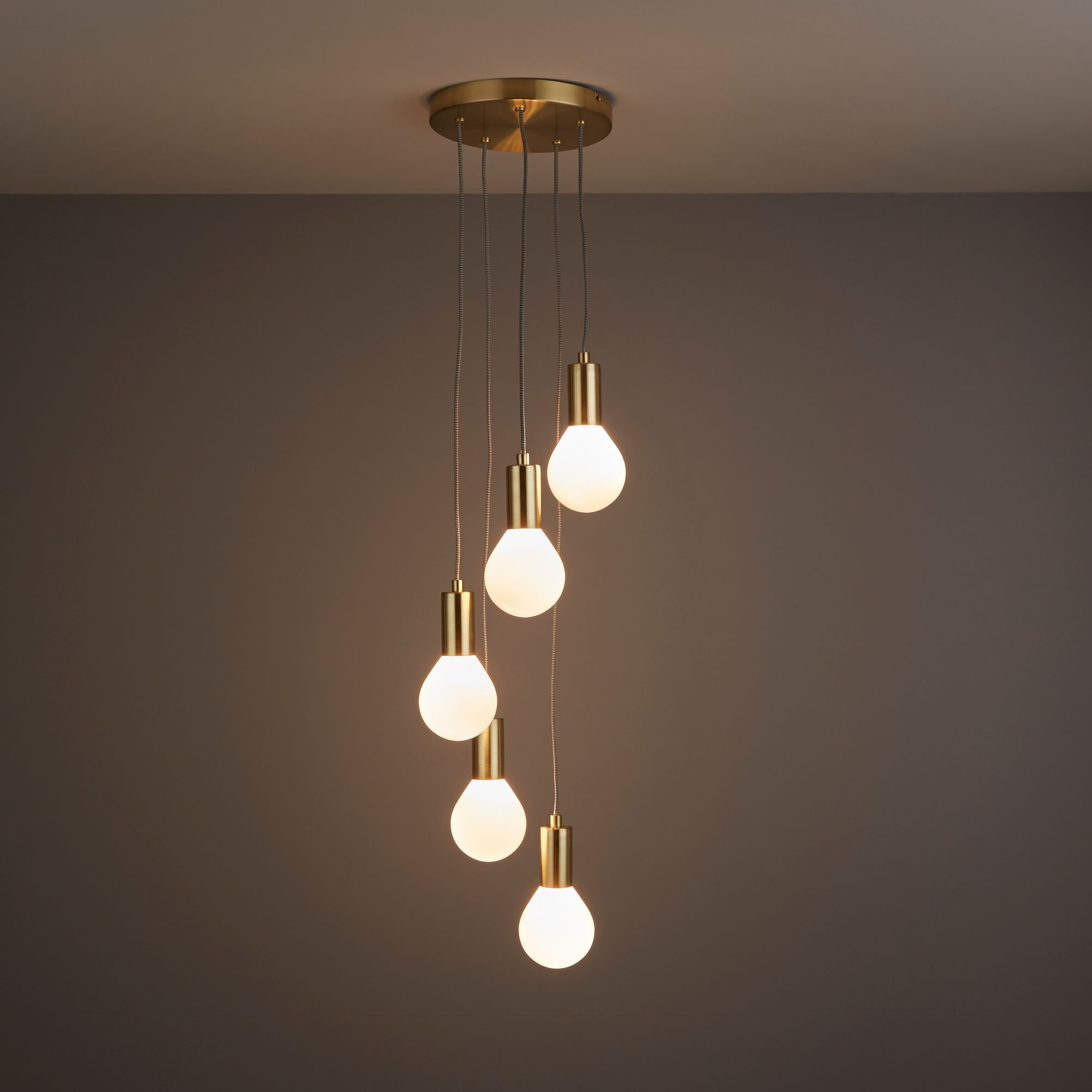 Channing Modern Gold Satin Brushed 5 Lamp Ceiling Light