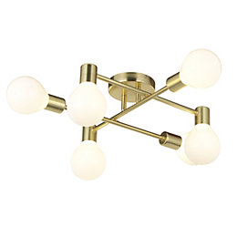 Channing Modern Gold Satin Brushed 6 Lamp Ceiling