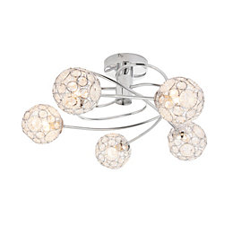 Lisel Chrome Effect 5 Lamp Ceiling Light