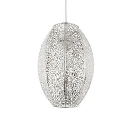 Krishna Filigree Metalwork Bright Nickel Plate Lamp Shade