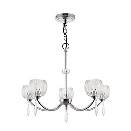 Pixie Cut Glass Chrome Effect 5 Lamp Pendant