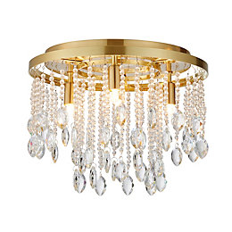 Angelica Satin Brushed Gold Effect 4 Lamp Flush