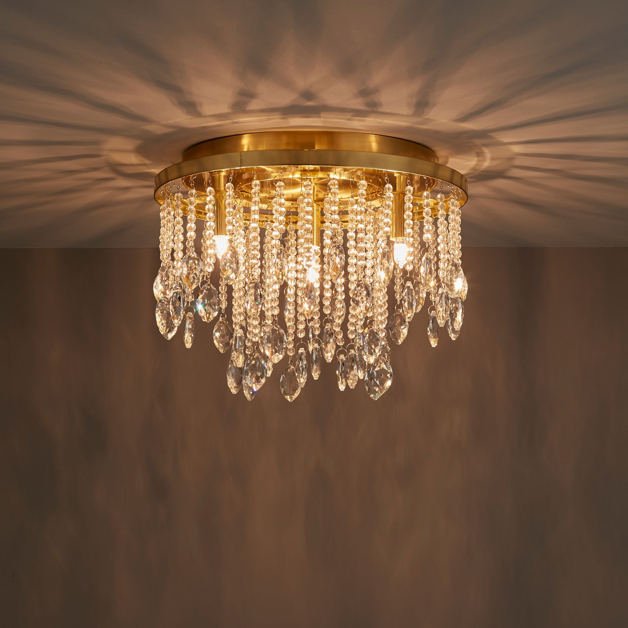 Angelica Satin Brushed Gold Effect 4 Lamp Flush Light