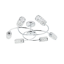Adela Glass Beads Chrome Effect 6 Lamp Semi