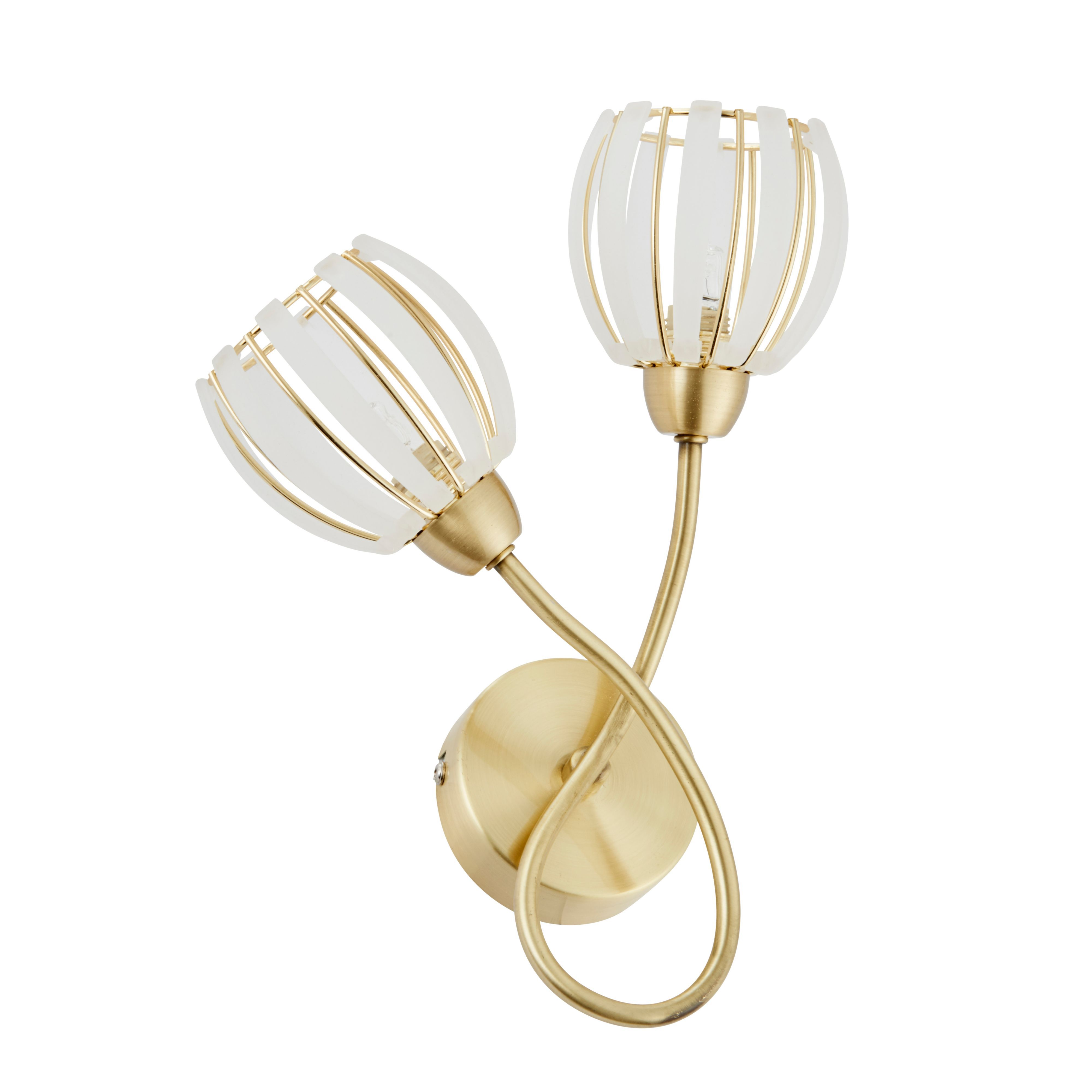 Wall Lamps B And Q : React Brushed Gold Effect 2 Lamp Double Wall Light Departments DIY at B&Q
