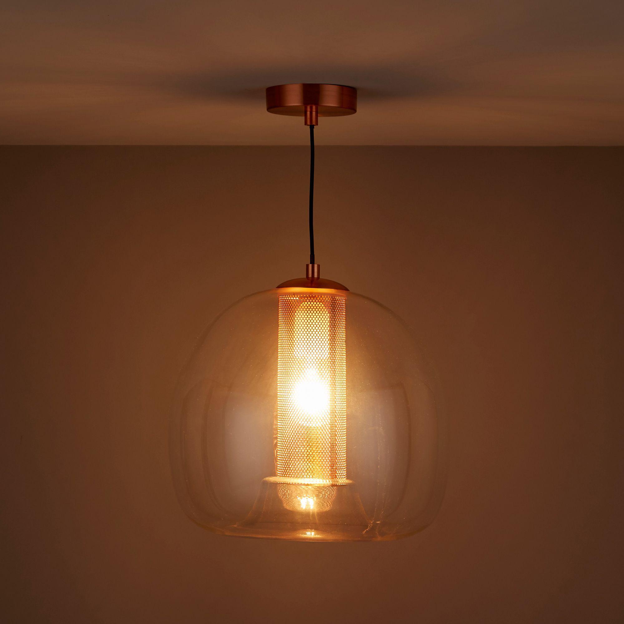 Hockney Clear Glass & Copper Plate Pendant Light