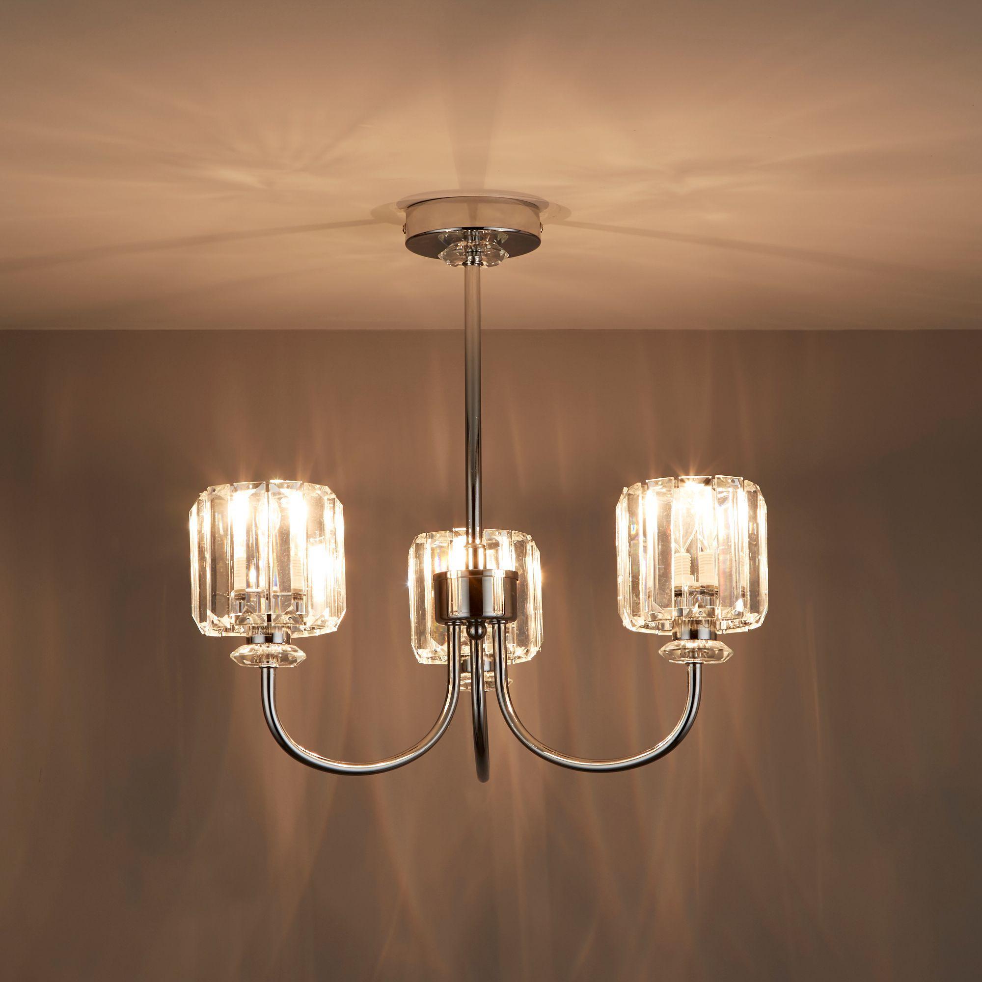 Welford Chrome Effect 3 Lamp Semi Flush Light