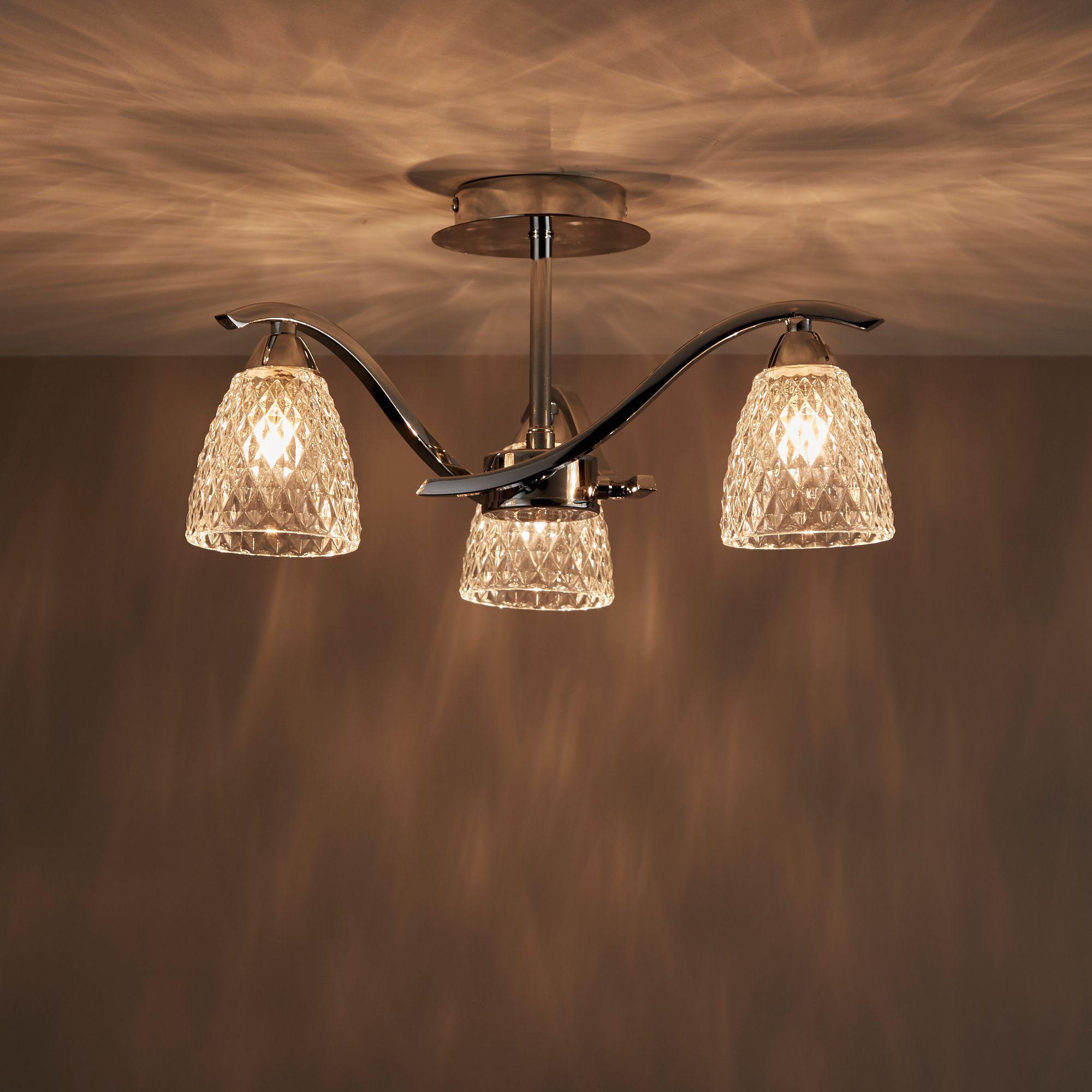 Tetbury Chrome Effect 3 Lamp Semi Flush Light