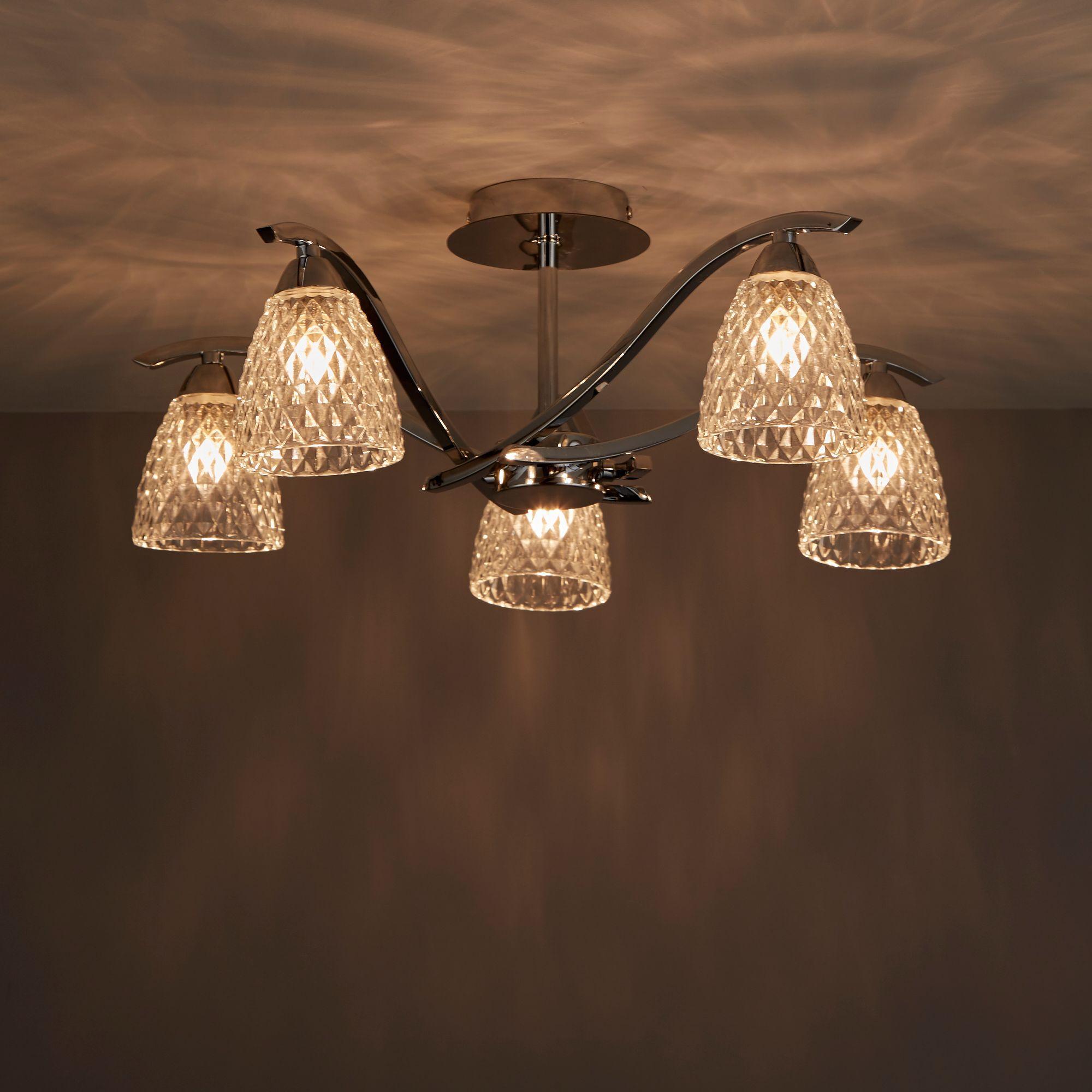 Tetbury Chrome Effect 5 Lamp Semi Flush Light
