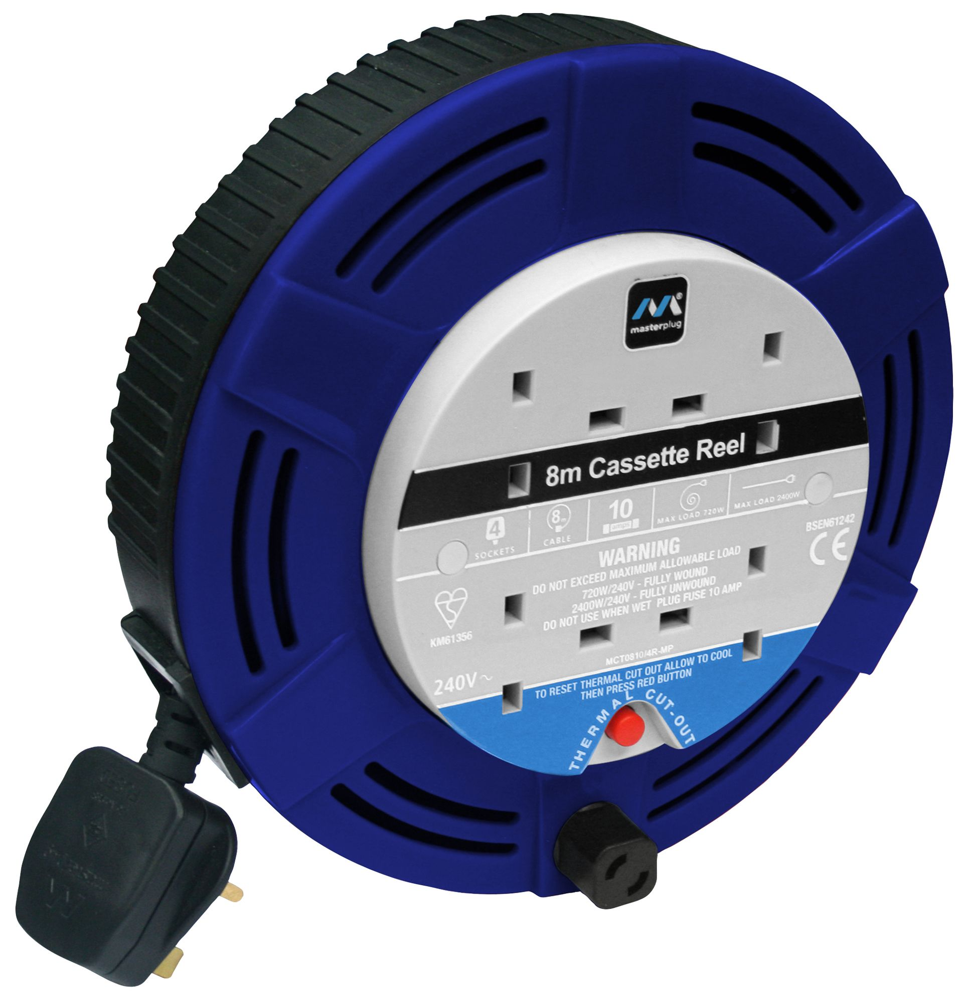 Masterplug 4 Socket 10A Cable Reel (L)8m | Departments ...