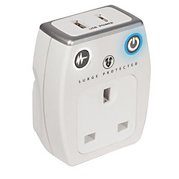 Masterplug Grey & White Gloss 13A USB Adaptor