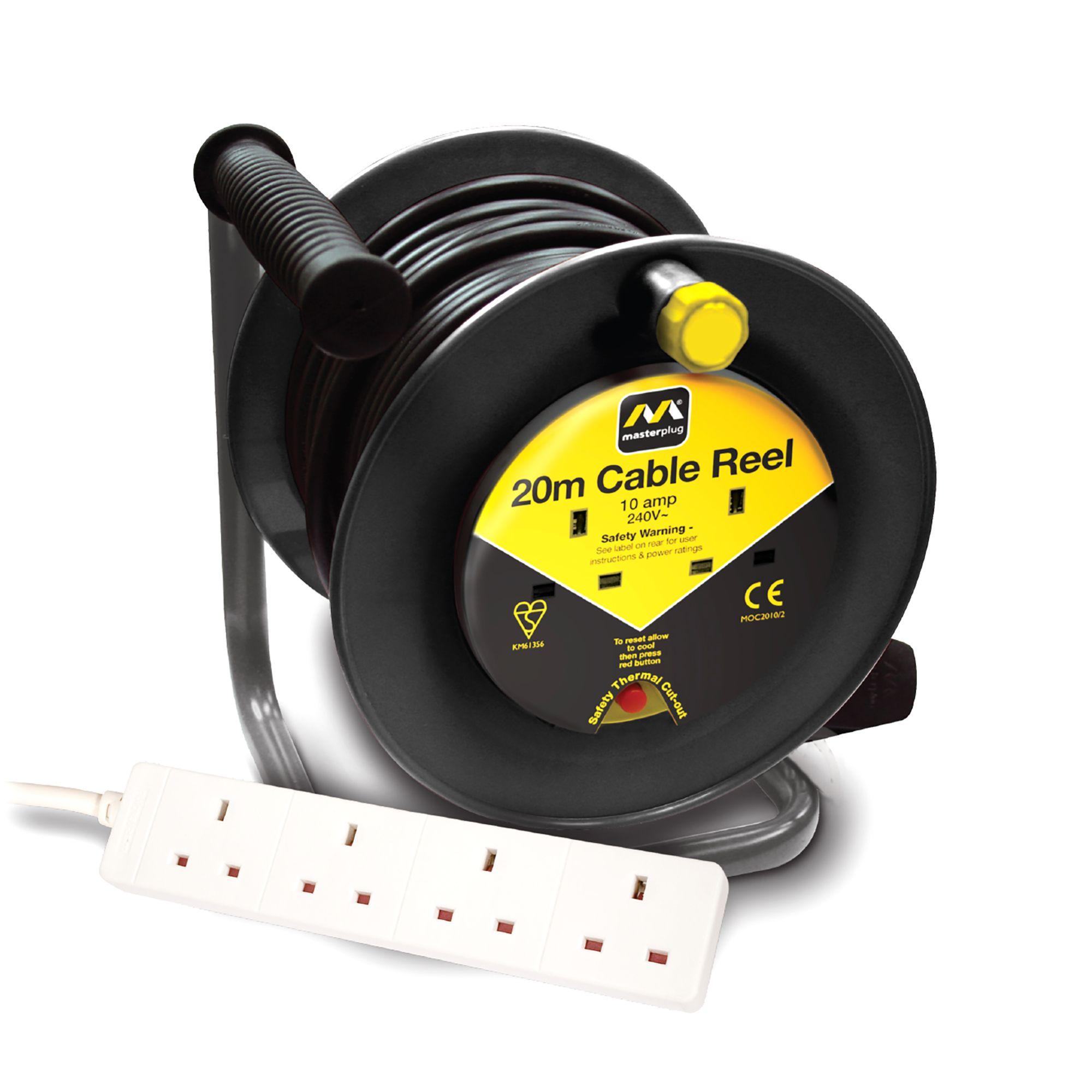 Masterplug 2 Socket 10a Cable Reel Amp Extension Lead L 20m