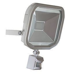 Luceco Matt White Mains Powered External Pir Security