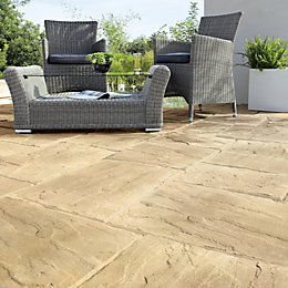 Beige Wetherdale Mixed Size Paving Pack, 5 m²