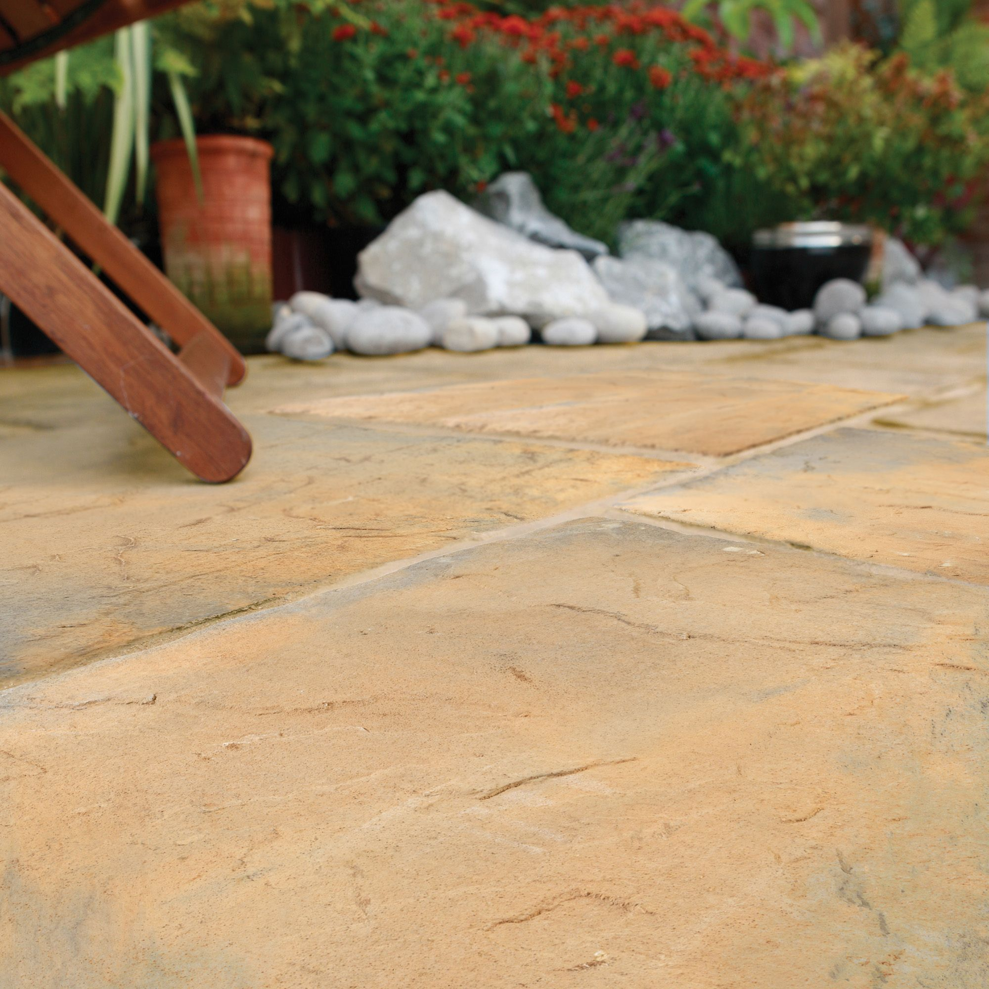 Abbey brown ancestry paving slab l 450mm w 450mm pack of for Garden decking kits b q