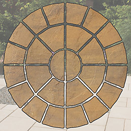 Buff Textured Circle Paving Pack (D)2.4M