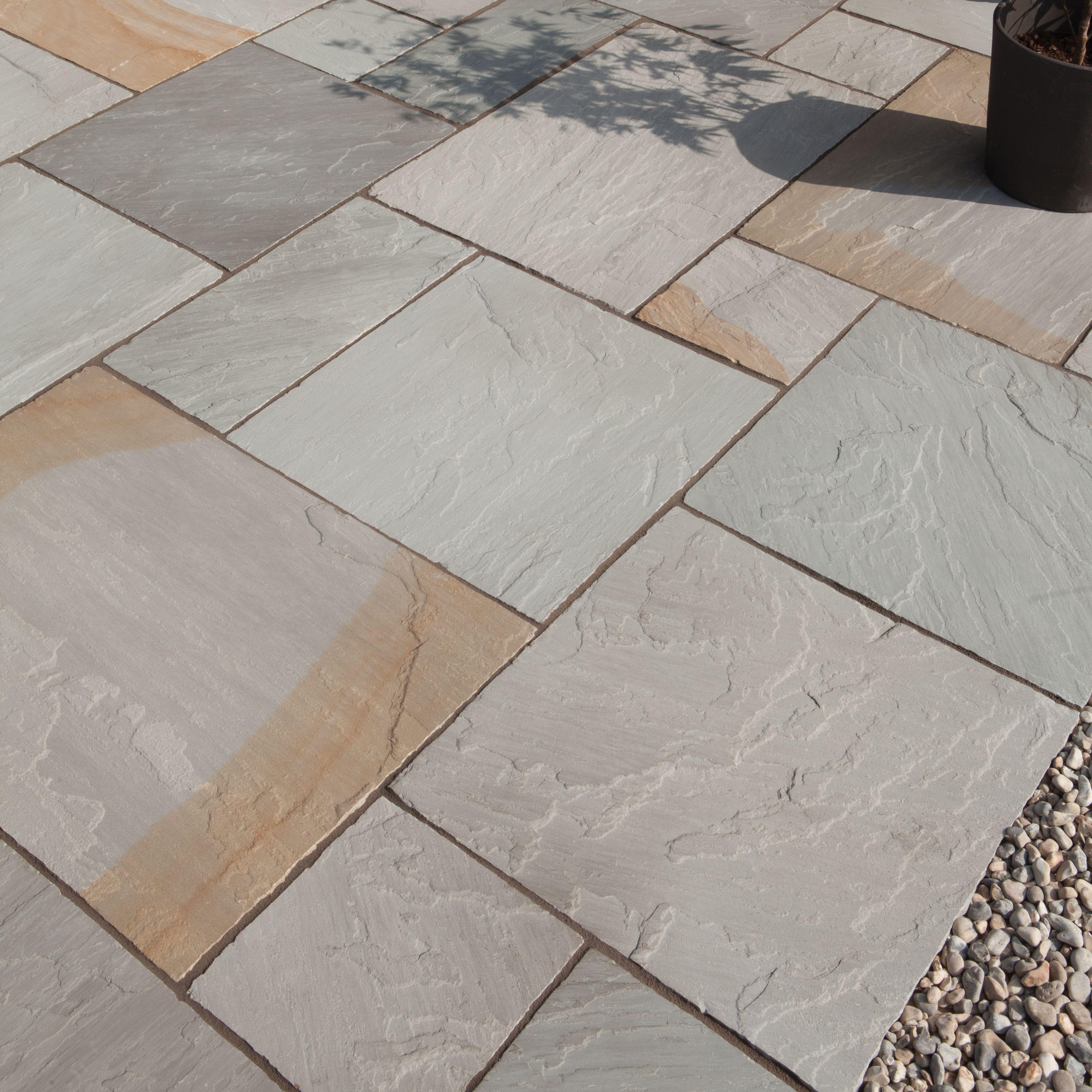 Grey Blend Natural Sandstone Paving Slab (l)600mm (w)300mm Pack Of 96, 17.28 M²