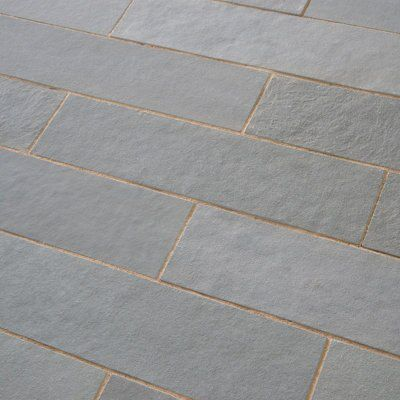 Azure Grey Natural Limestone Paving Slab L 800mm W 200mm