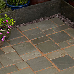 Silver Grey Natural Sandstone Cobble Mat (L)500 (W)300mm