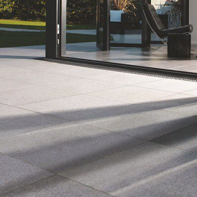 Terrace Paved With Smooth, Grey Contemporary Paving Slabs