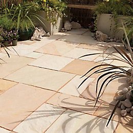 Fossil Buff Natural Sandstone Paving Slab (L)600 (W)300mm