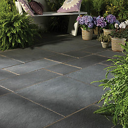Blue Black Natural Limestone Mixed Size Paving Pack,