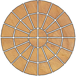 Autumn Gold Old Riven Circle Paving Pack (D)2.4M
