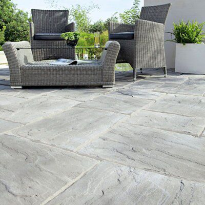 Weathered Grey Wetherdale Single Paving Slab (l)450mm (w)450mm