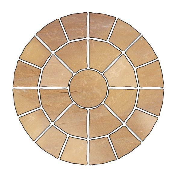 Sunset buff natural sandstone circle paving pack m for Garden decking kits b q