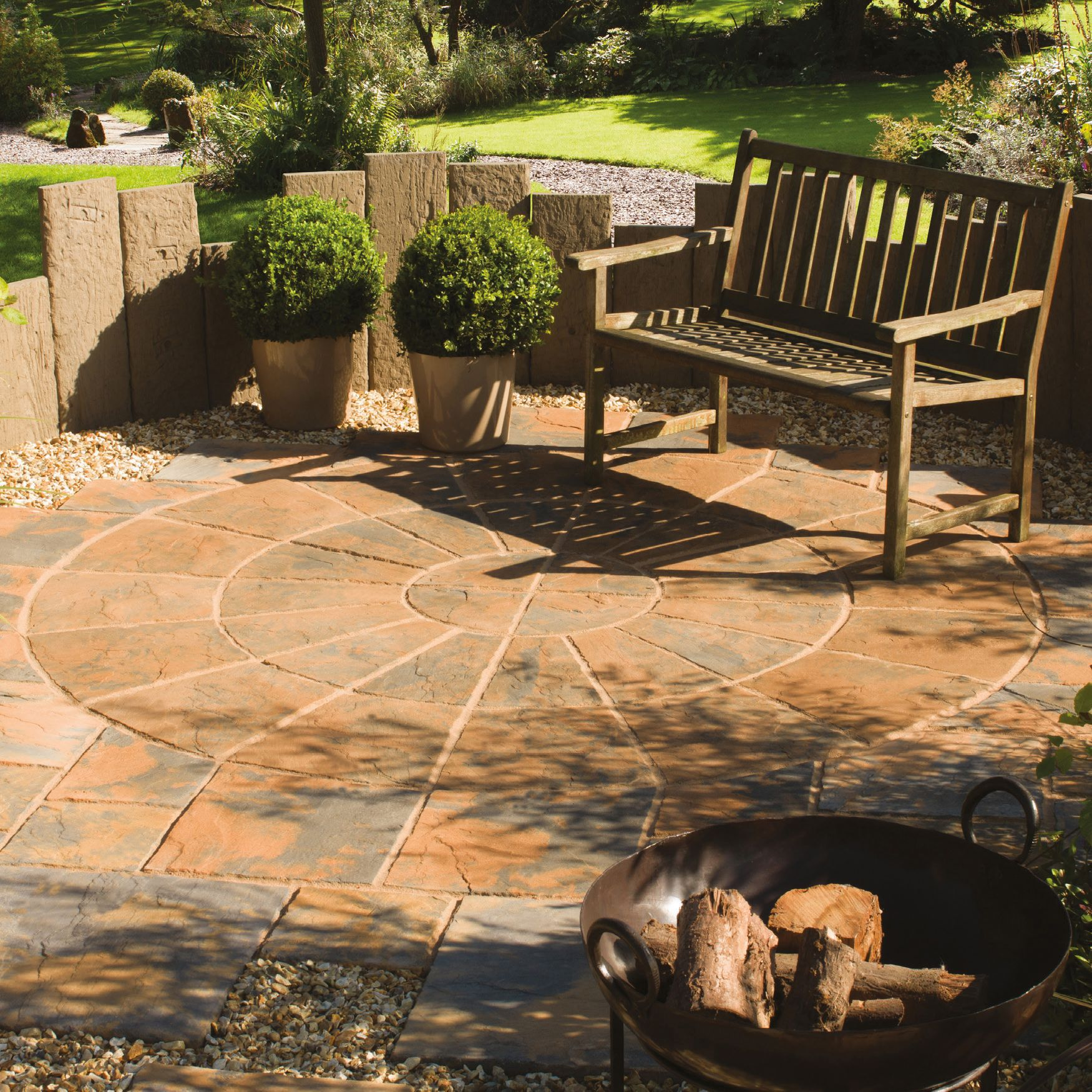 Abbey brown ancestry paving circle squaring off pack for Garden decking kits b q