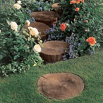 Antique Brown Stepping Stone laid in a lawn