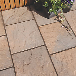 Brown Blend Derbyshire Single Paving Slab (L)450mm (W)450mm