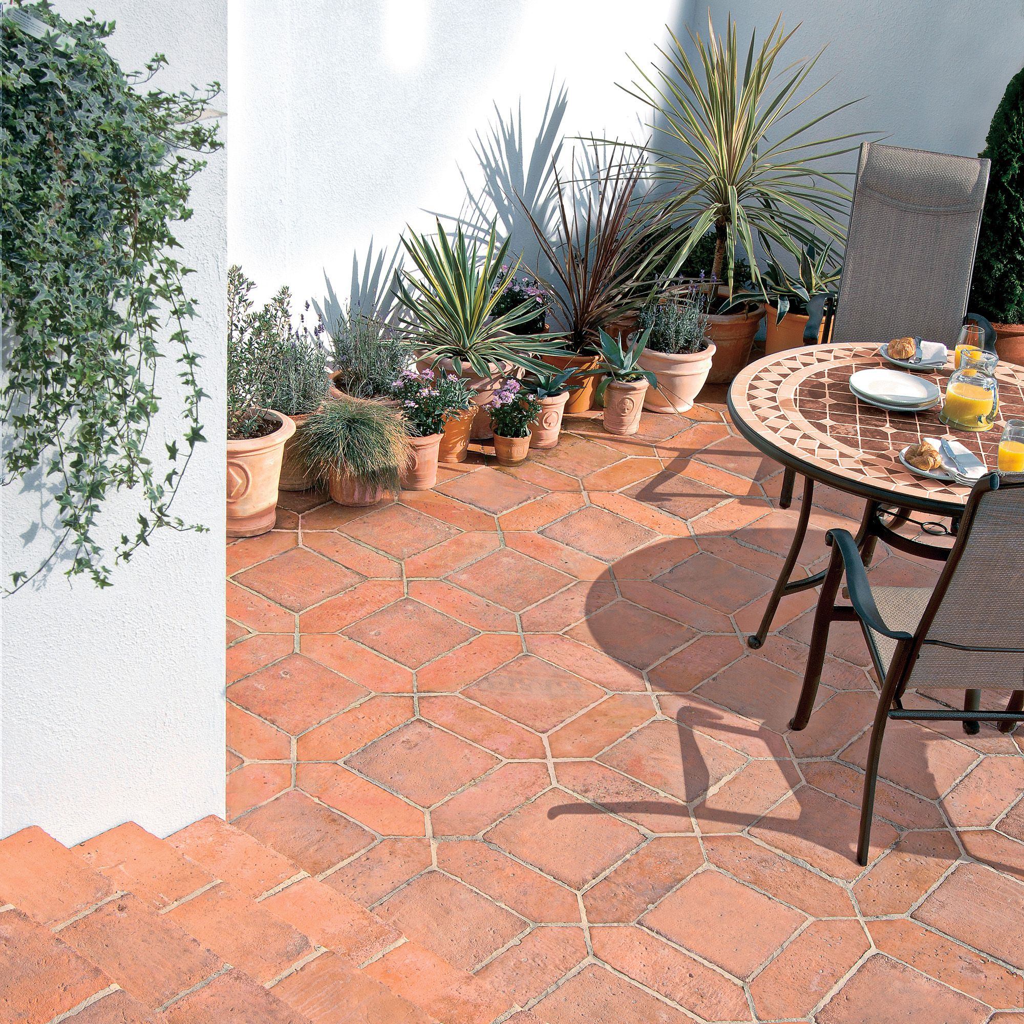 mellow terracotta tile mixed size paving pack | departments | diy