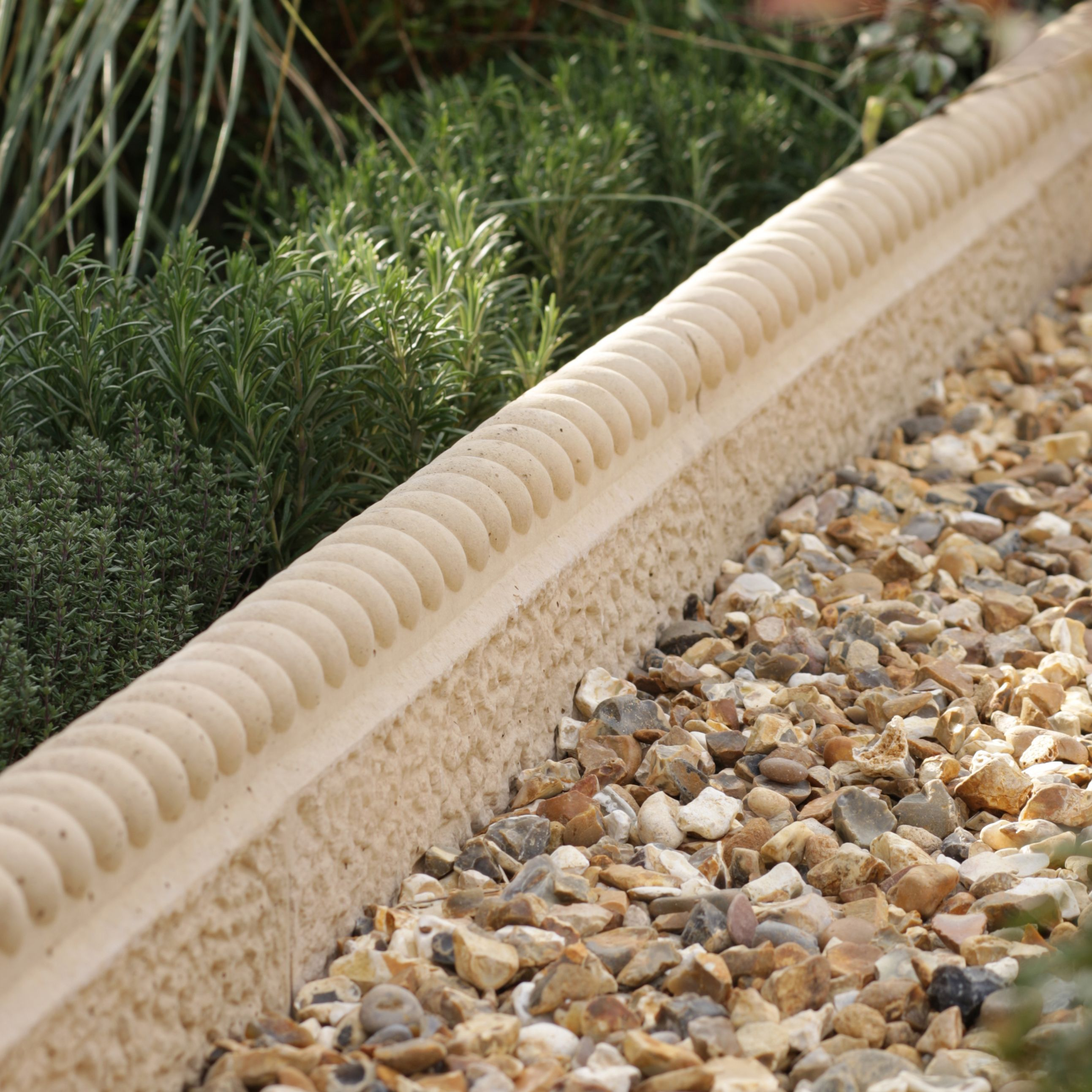 Traditional Old Town Paving Edging Weathered Limestone, (l)450mm (h)200mm (t)50mm