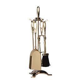 Slemcka Brass 5 Piece Fireplace Companion Set