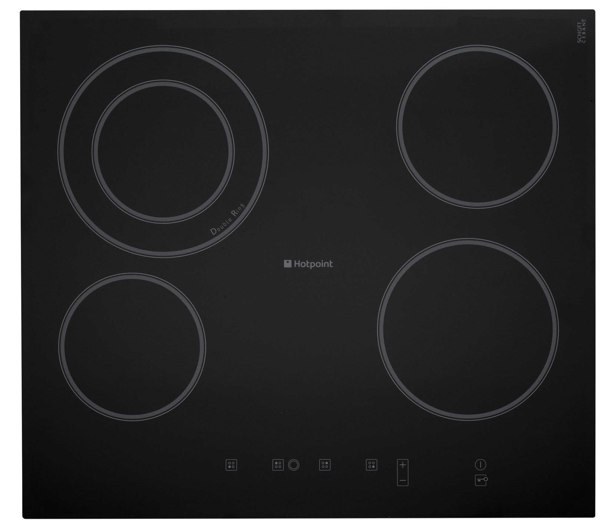 Hotpoint Cra641dc 4 Burner Black Stainless Steel Electric Ceramic Hob