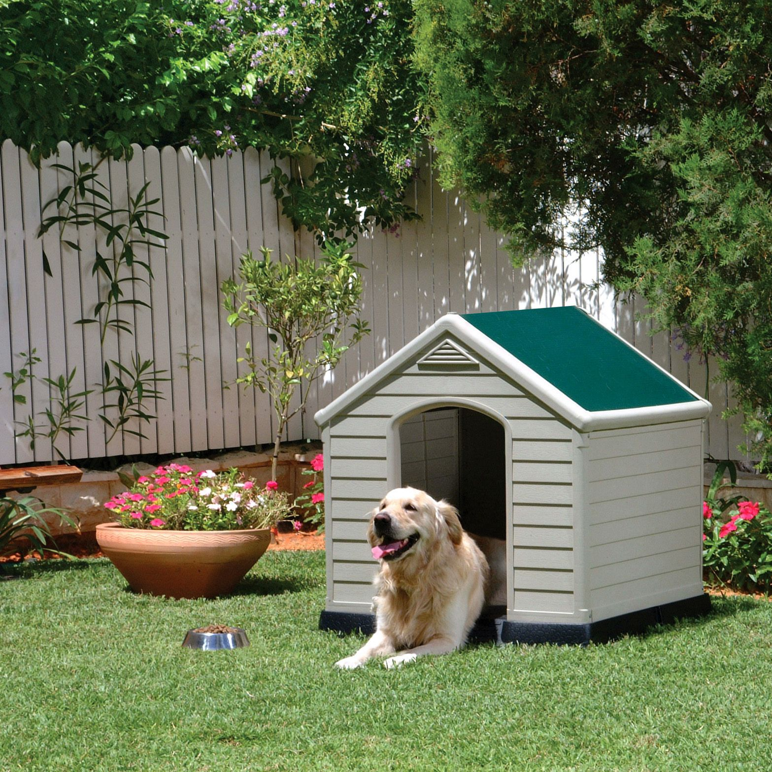 Keter kennel w 990mm d 950mm departments diy at b q for Dog kennel greenhouse