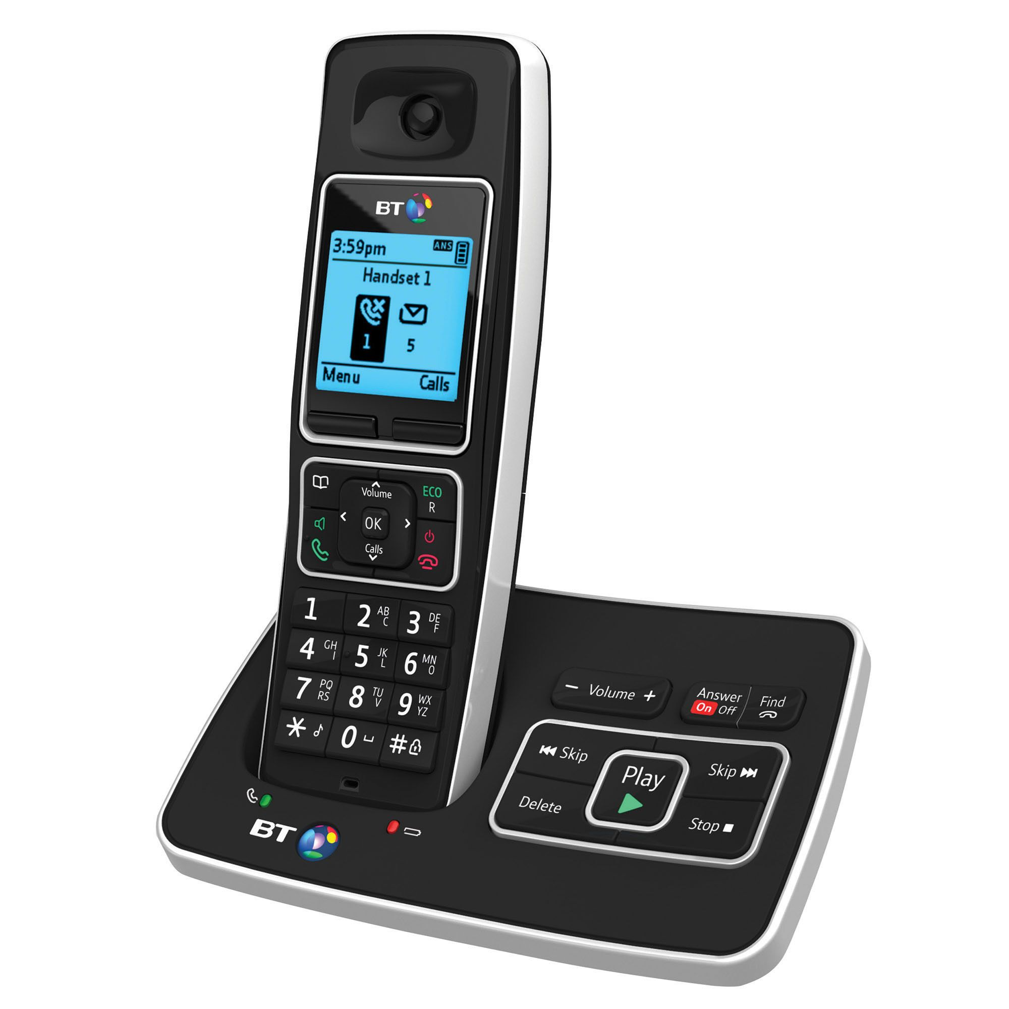 Bt 6500 Black Cordless Digital Telephone With Answering Machine - Single Handset
