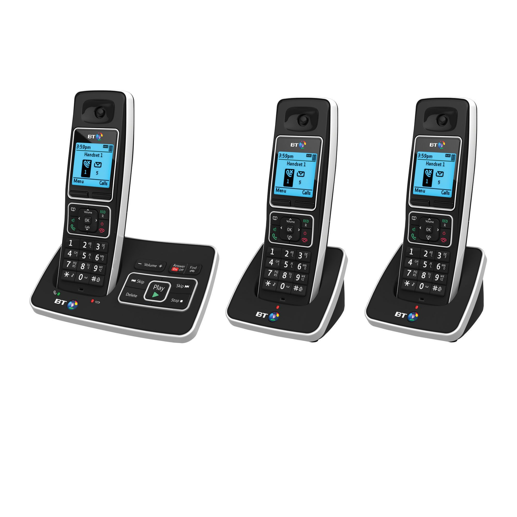 Bt 6500 Black Cordless Digital Telephone With Answering Machine - Trio Handset
