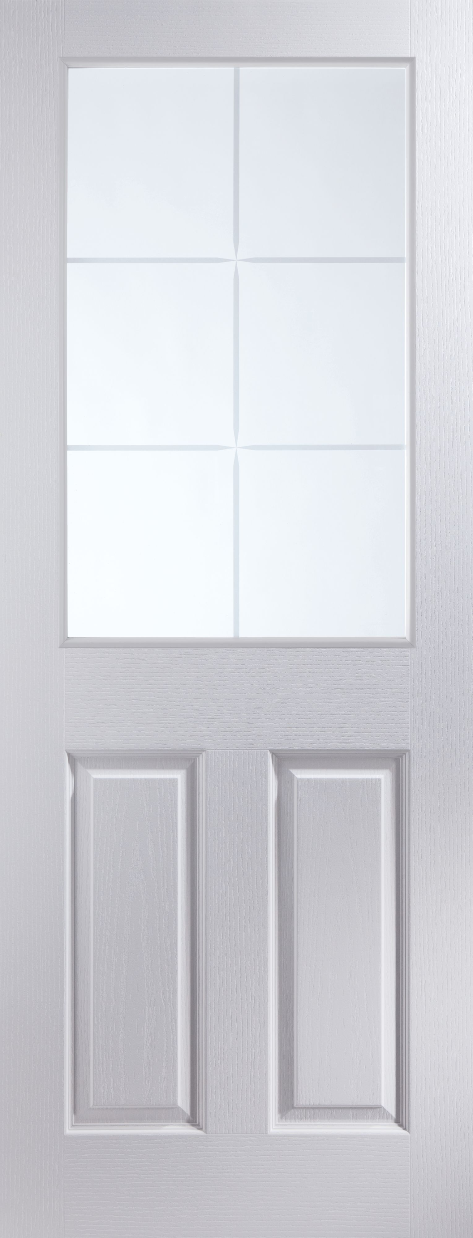 6 Panel 6 Lite Pre-painted White Glazed Internal Standard Door, (h)2040mm (w)726mm