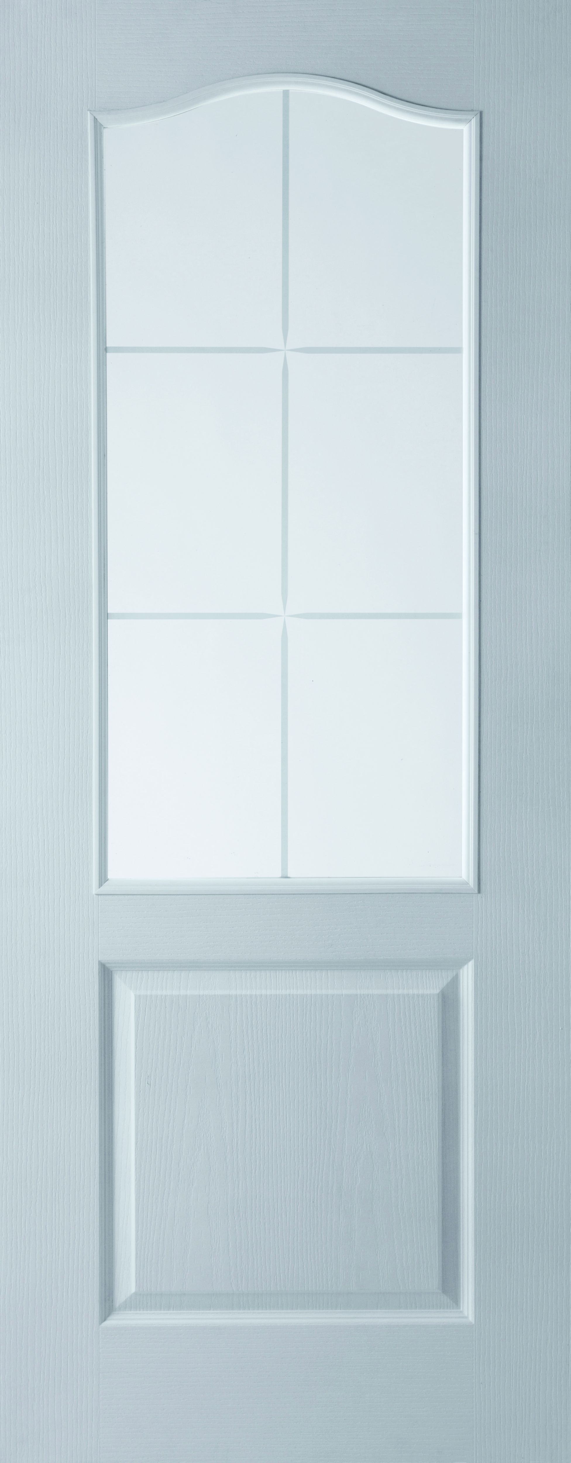 2 Panel Arched 6 Lite Pre-painted White Glazed Internal Standard Door, (h)1981mm (w)838mm